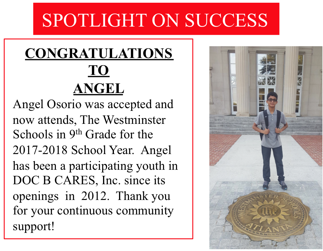 Doc B Cares student, Angel Osario